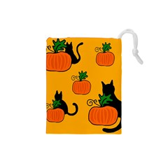 Halloween pumpkins and cats Drawstring Pouches (Small)