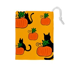 Halloween pumpkins and cats Drawstring Pouches (Large)