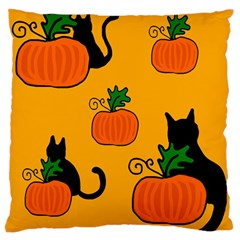 Halloween pumpkins and cats Large Flano Cushion Case (One Side)