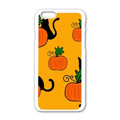 Halloween pumpkins and cats Apple iPhone 6/6S White Enamel Case