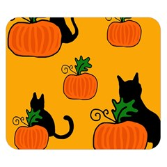 Halloween pumpkins and cats Double Sided Flano Blanket (Small)