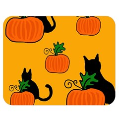 Halloween pumpkins and cats Double Sided Flano Blanket (Medium)