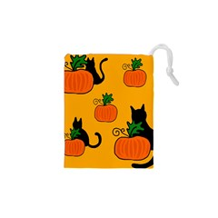 Halloween pumpkins and cats Drawstring Pouches (XS)