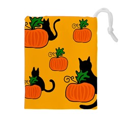 Halloween pumpkins and cats Drawstring Pouches (Extra Large)