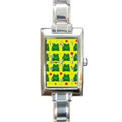 Green frogs Rectangle Italian Charm Watch