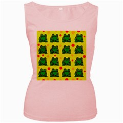 Green Frogs Women s Pink Tank Top