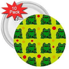 Green frogs 3  Buttons (10 pack)