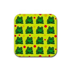 Green frogs Rubber Square Coaster (4 pack)