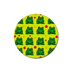Green frogs Rubber Round Coaster (4 pack)