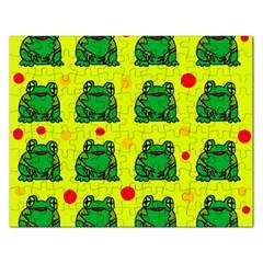 Green frogs Rectangular Jigsaw Puzzl