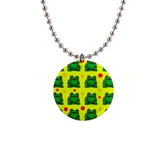 Green frogs Button Necklaces