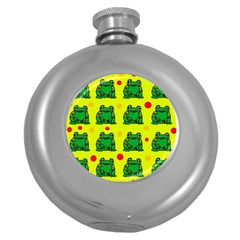Green frogs Round Hip Flask (5 oz)