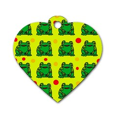 Green frogs Dog Tag Heart (One Side)