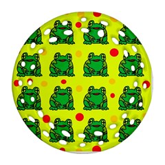Green frogs Round Filigree Ornament (2Side)