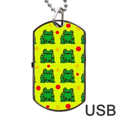 Green frogs Dog Tag USB Flash (One Side)