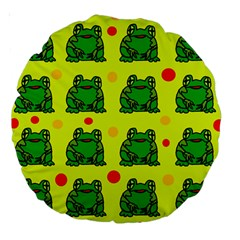 Green frogs Large 18  Premium Round Cushions