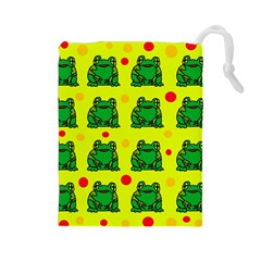 Green frogs Drawstring Pouches (Large)