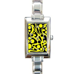 Black And Yellow Abstract Desing Rectangle Italian Charm Watch