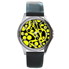 Black and Yellow abstract desing Round Metal Watch
