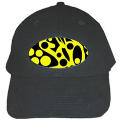 Black and Yellow abstract desing Black Cap