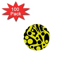 Black and Yellow abstract desing 1  Mini Buttons (100 pack)