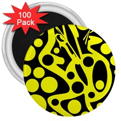 Black and Yellow abstract desing 3  Magnets (100 pack)
