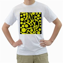 Black and Yellow abstract desing Men s T-Shirt (White) (Two Sided)