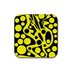 Black and Yellow abstract desing Rubber Coaster (Square)