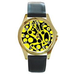 Black and Yellow abstract desing Round Gold Metal Watch