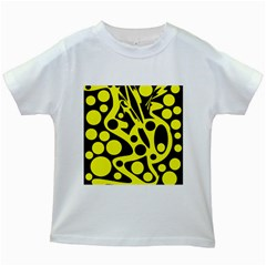 Black and Yellow abstract desing Kids White T-Shirts
