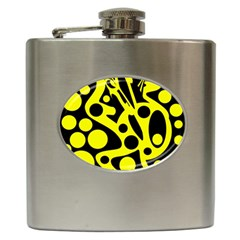 Black and Yellow abstract desing Hip Flask (6 oz)