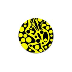 Black and Yellow abstract desing Golf Ball Marker