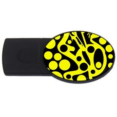 Black and Yellow abstract desing USB Flash Drive Oval (1 GB)