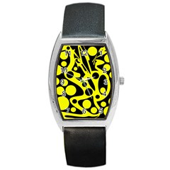 Black and Yellow abstract desing Barrel Style Metal Watch