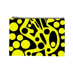 Black and Yellow abstract desing Cosmetic Bag (Large)