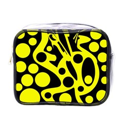 Black and Yellow abstract desing Mini Toiletries Bags