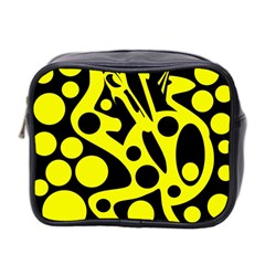 Black and Yellow abstract desing Mini Toiletries Bag 2-Side