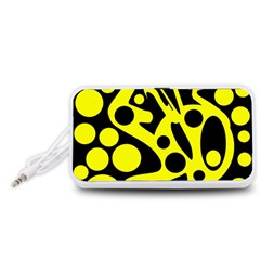 Black and Yellow abstract desing Portable Speaker (White)