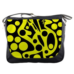 Black and Yellow abstract desing Messenger Bags