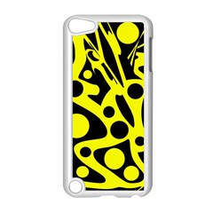 Black and Yellow abstract desing Apple iPod Touch 5 Case (White)