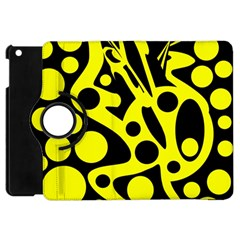 Black and Yellow abstract desing Apple iPad Mini Flip 360 Case
