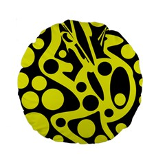 Black and Yellow abstract desing Standard 15  Premium Round Cushions