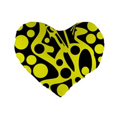 Black and Yellow abstract desing Standard 16  Premium Heart Shape Cushions