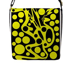 Black and Yellow abstract desing Flap Messenger Bag (L)