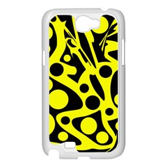 Black and Yellow abstract desing Samsung Galaxy Note 2 Case (White)