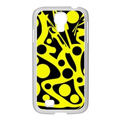 Black and Yellow abstract desing Samsung GALAXY S4 I9500/ I9505 Case (White)