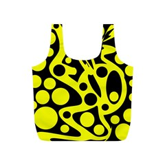 Black and Yellow abstract desing Full Print Recycle Bags (S)