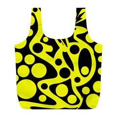 Black and Yellow abstract desing Full Print Recycle Bags (L)