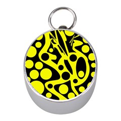 Black and Yellow abstract desing Mini Silver Compasses