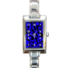 Blue And Black Abstract Decor Rectangle Italian Charm Watch